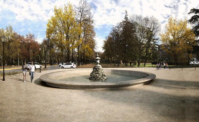 Viale Umberto I - render fontana