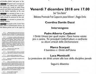 70esimo della Dichiarazione dei diritti, un incontro dai cappuccini a Reggio