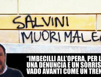 """A Modena scritta su un muro contro il ministro dell'Interno: """"Salvini muori male"""""""