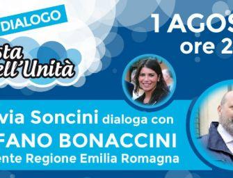 Giovedì 1 agosto alla festa dell'Unità di Albinea il governatore Bonaccini e la vicepresidente dell'assemblea legislativa Soncini