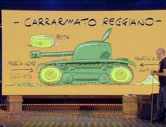 """Guerra dei dazi Usa-UE, l'idea di Makkox: il """"Carrarmato Reggiano"""""""