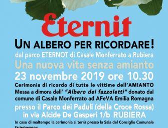 """Sabato 23 novembre a Rubiera """"Eternit: un albero per ricordare"""", una cerimonia in memoria di tutte le vittime dell'amianto"""