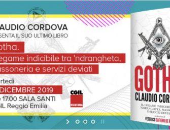 """Martedì 17 dicembre alla Cgil di Reggio la presentazione del libro """"Gotha"""" di Claudio Cordova"""