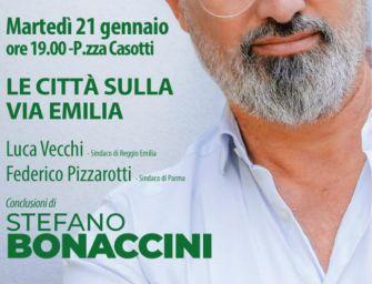 Regionali, Bonaccini in piazza Casotti a Reggio