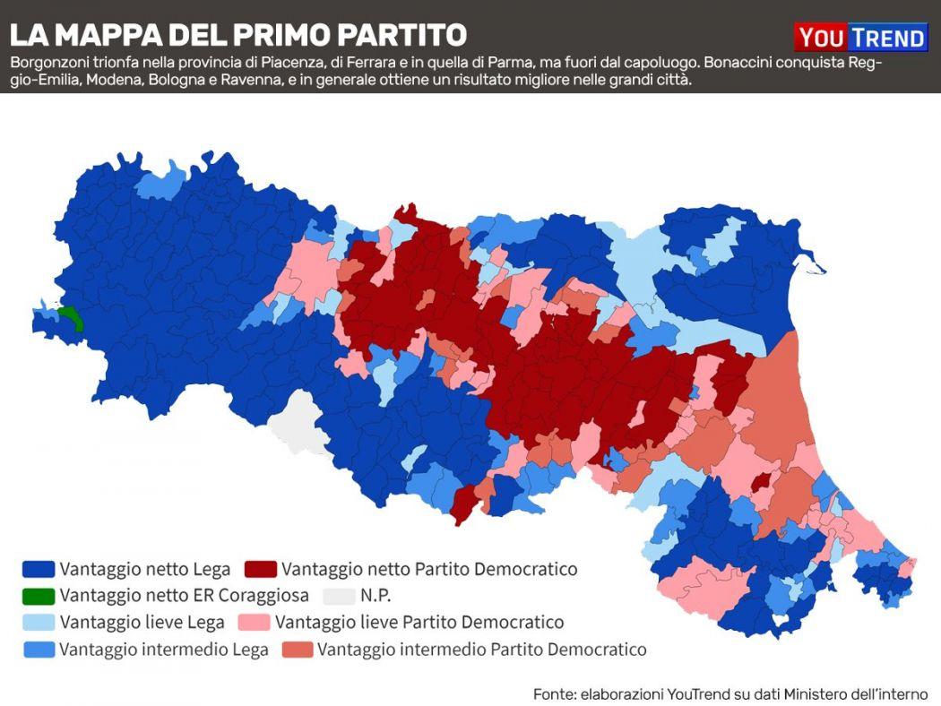 Elezioni regionali in Emilia-Romagna, ecco la mappa del voto in ...