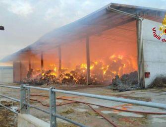 Fiamme in un'azienda agricola di San Giovanni in Persiceto, in fumo 1.500 balle di fieno