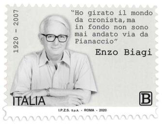 Francobollo nel centenario di Enzo Biagi