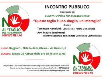 """Referendum, sabato 29 agosto all'Ostello della Ghiara di Reggio l'incontro """"Questo taglio è uno sbaglio"""""""