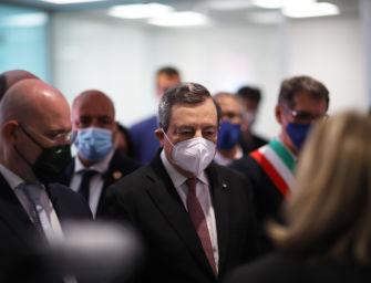 """Il premier Draghi in visita in Emilia-Romagna: """"Qui c'è entusiasmo e voglia di ricominciare"""""""