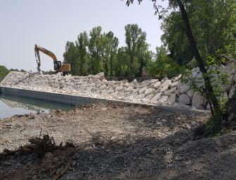 Sul fiume Panaro procedono i lavori per la messa in sicurezza della briglia di Zenzano